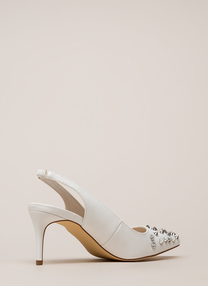 Apex Spiky Studded Slingback Heels WHITE (Final Sale)