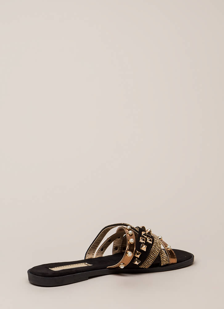 I Embellished Strappy Studded Sandals BLACK