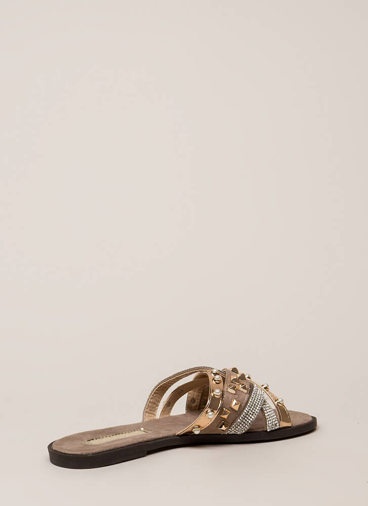 I Embellished Strappy Studded Sandals GREY