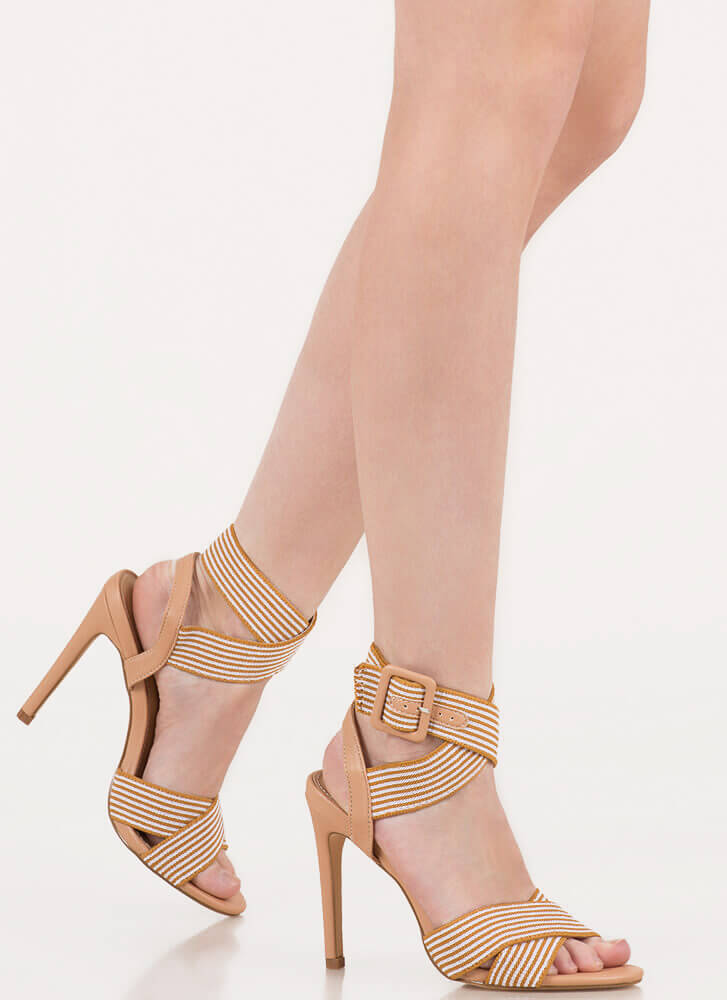 Resort Collection Striped Banded Heels NUDE