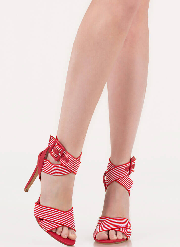 Resort Collection Striped Banded Heels RED