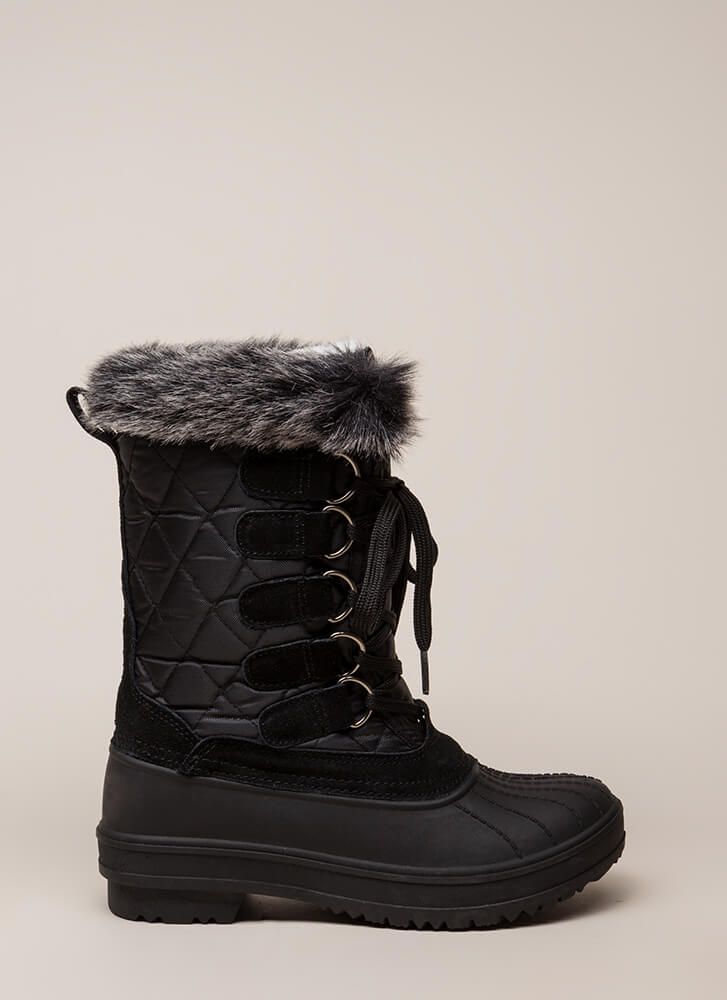 Just Fur Fun Lace-Up Duck Boots BLACK