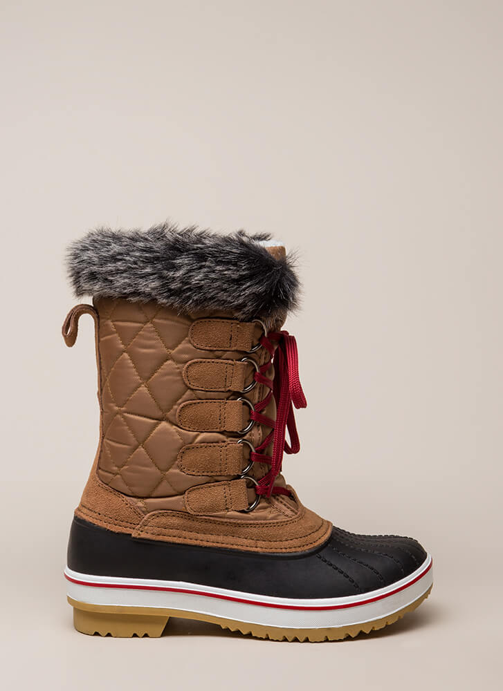 Just Fur Fun Lace-Up Duck Boots COGNAC