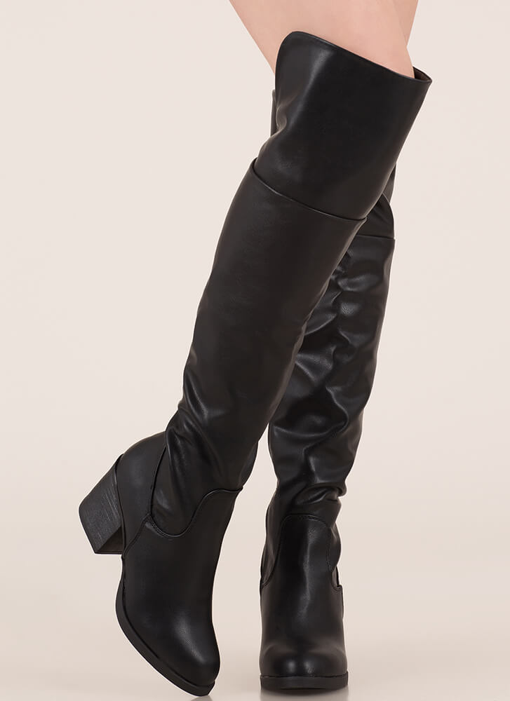 Top Notch Faux Leather Thigh-High Boots BLACK