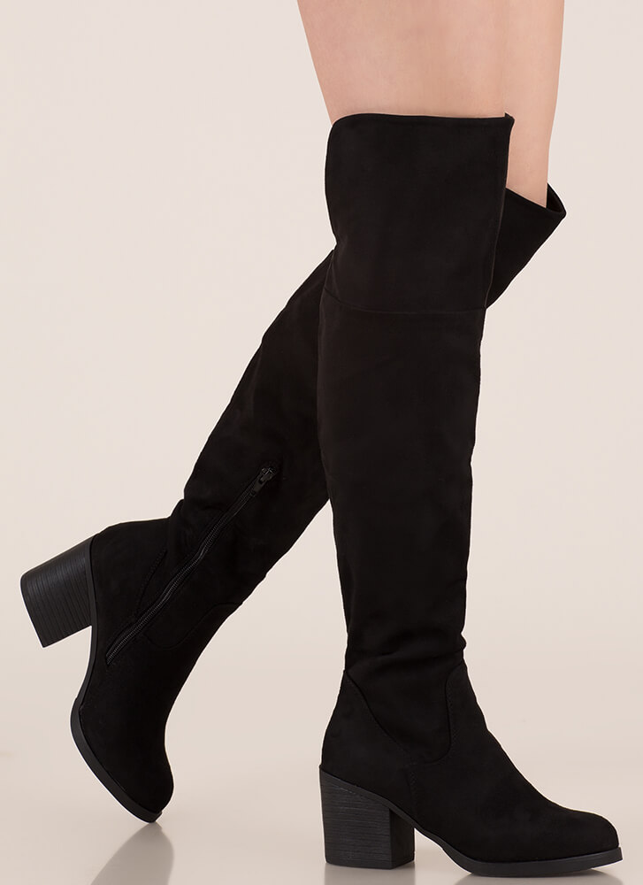 Top Notch Faux Suede Thigh-High Boots BLACK