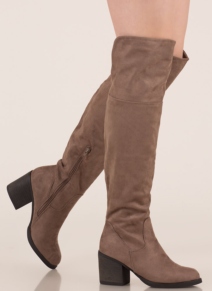 dd7efb253756 Top Notch Faux Suede Thigh-High Boots TAUPE - GoJane.com