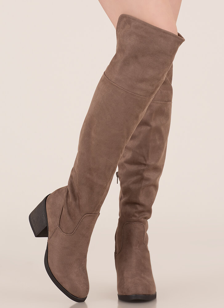 Top Notch Faux Suede Thigh-High Boots TAUPE