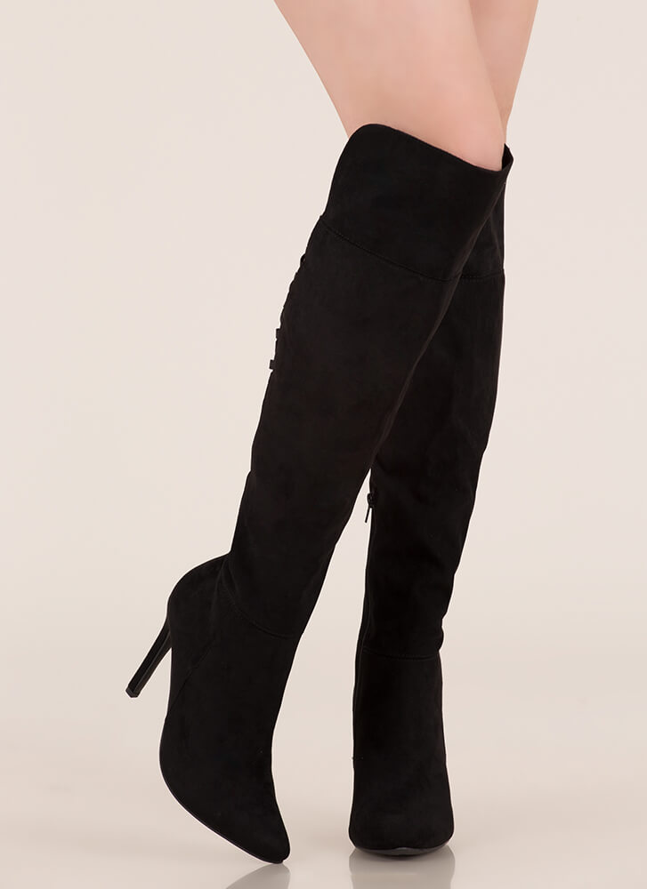 Bringing Strappy Back Thigh-High Boots BLACK (You Saved $30)