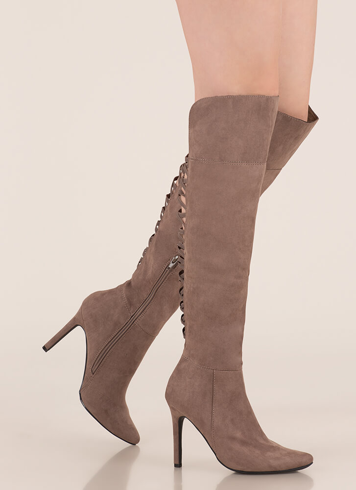 Bringing Strappy Back Thigh-High Boots TAUPE