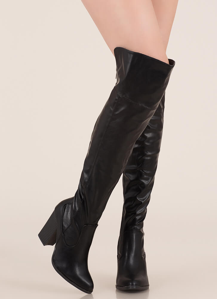 Showcase Faux Leather Thigh-High Boots BLACK