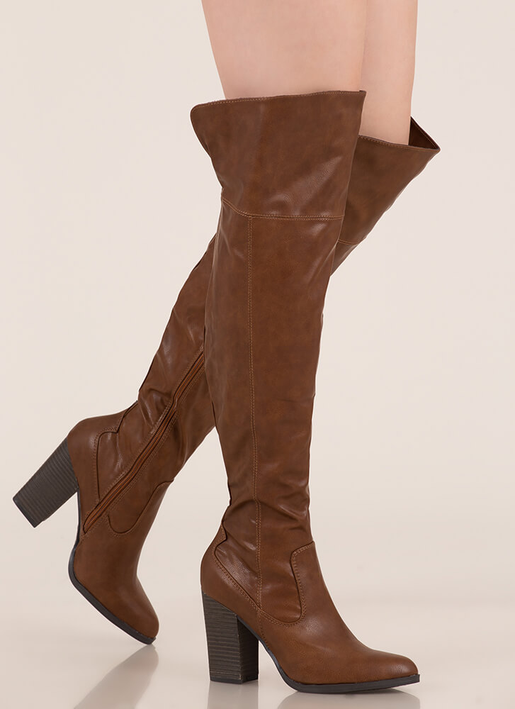 Showcase Faux Leather Thigh-High Boots CHESTNUT