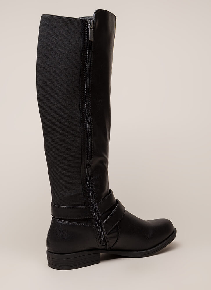 Good Fit Stretchy Strappy Riding Boots BLACK