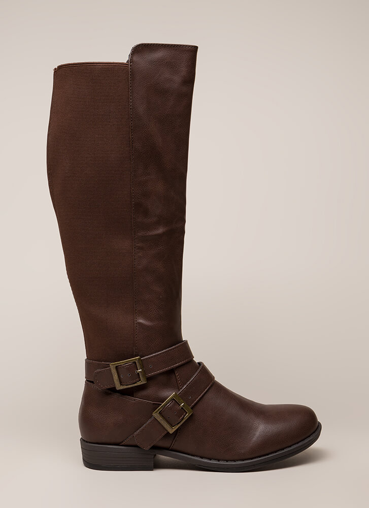 Good Fit Stretchy Strappy Riding Boots BROWN