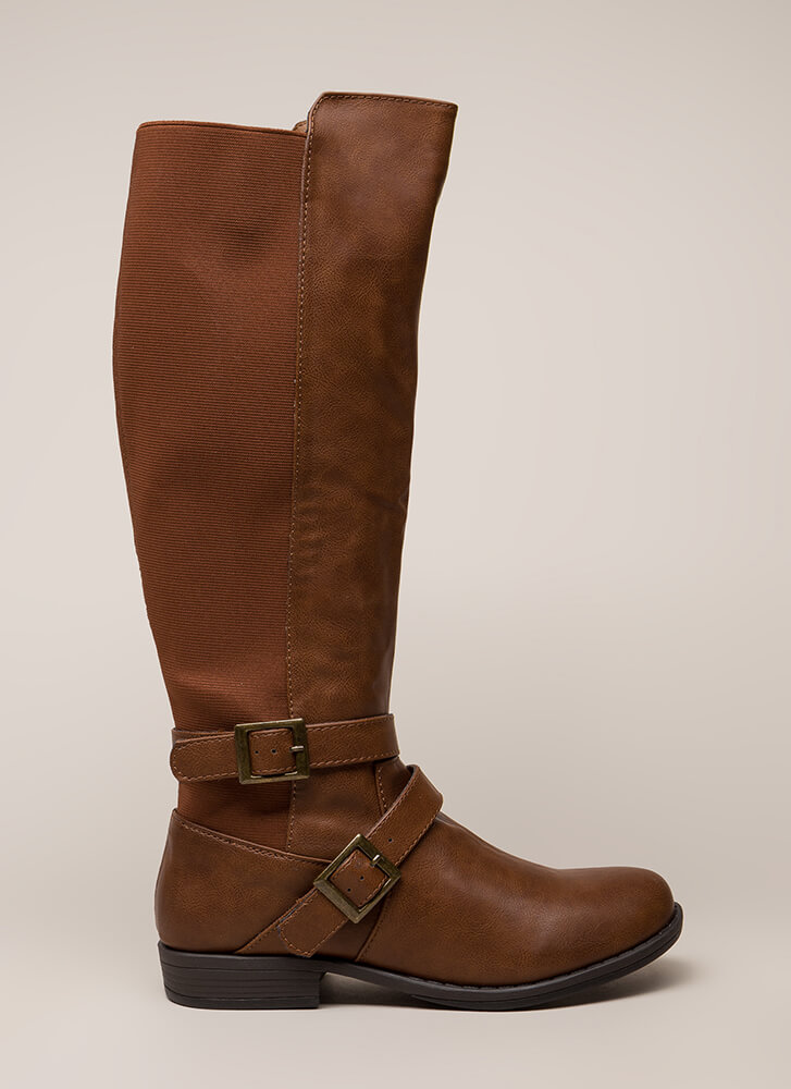 Good Fit Stretchy Strappy Riding Boots CHESTNUT