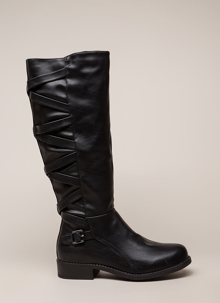 X's And Oohs Strappy Riding Boots BLACK