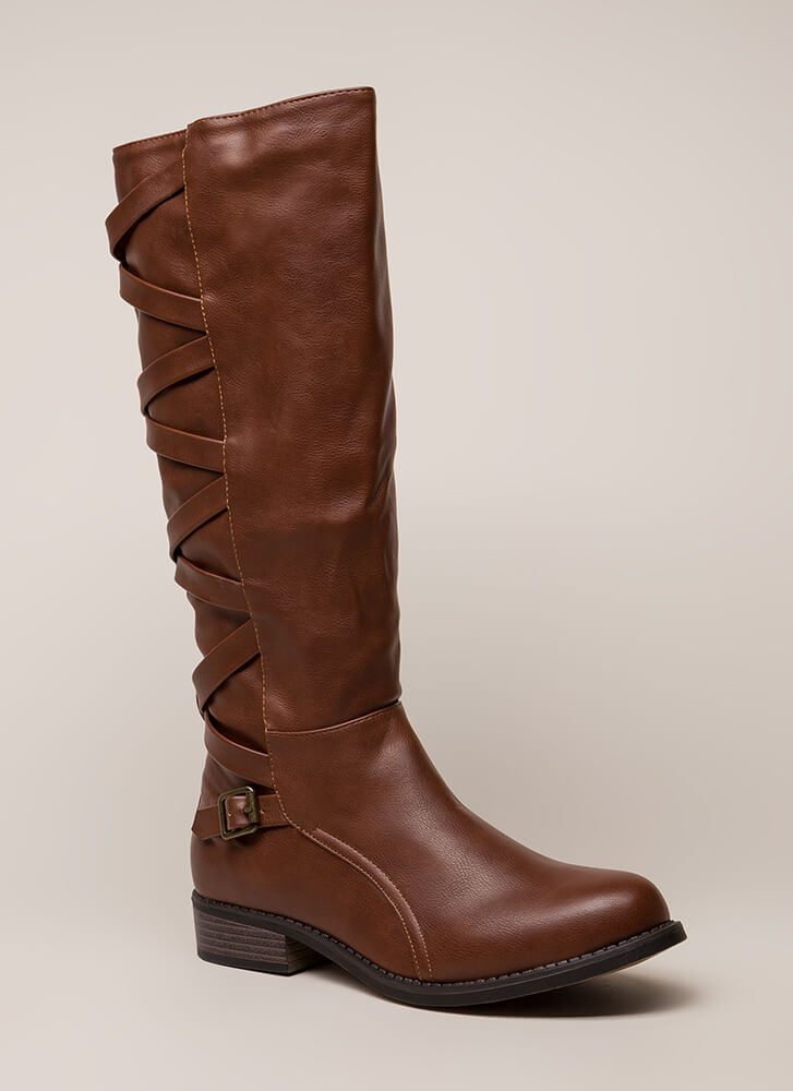 X's And Oohs Strappy Riding Boots CHESTNUT