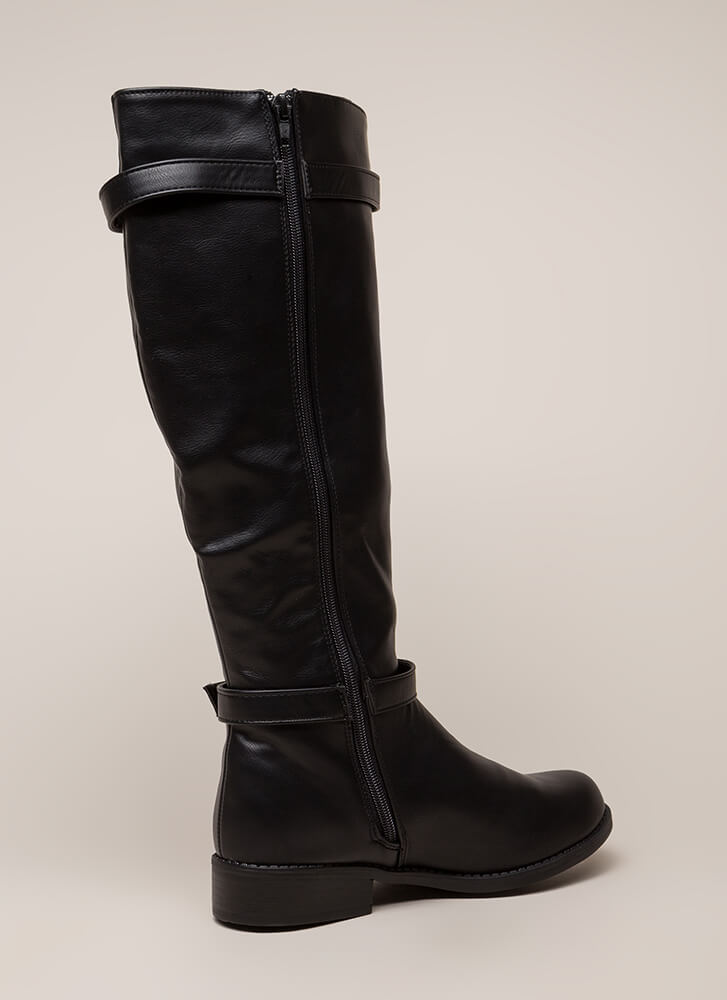 Total Stud Strappy Riding Boots BLACK (You Saved $27)