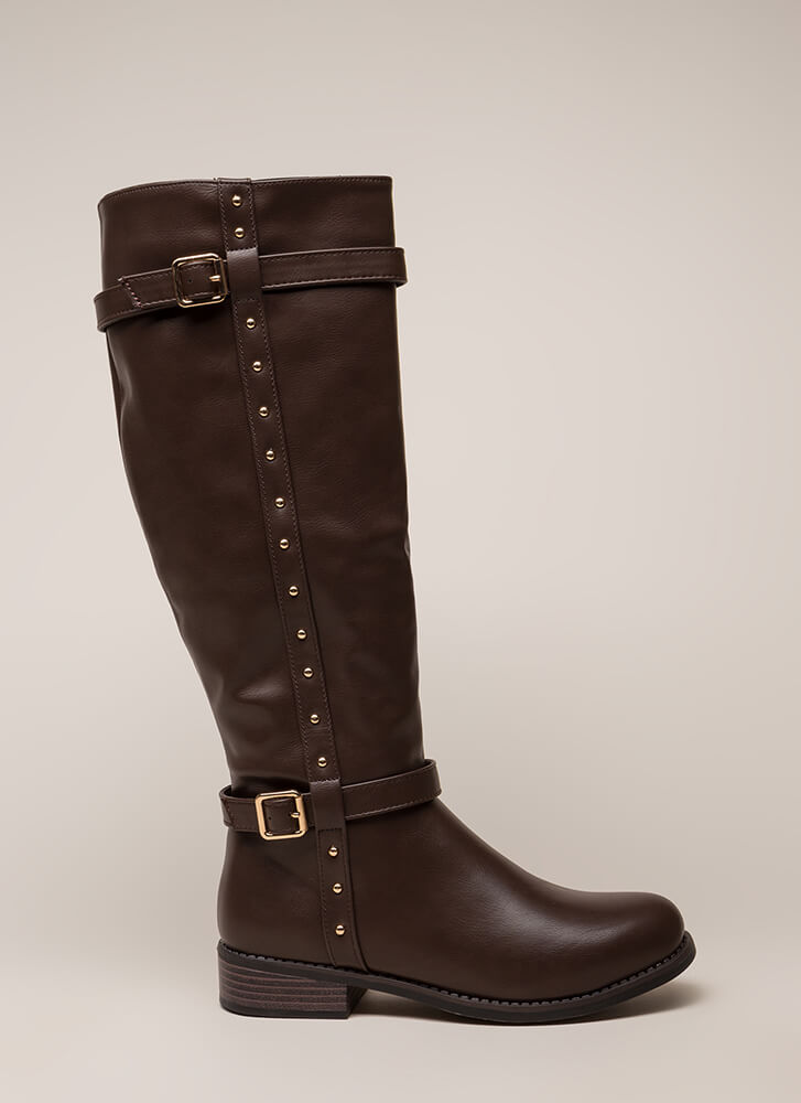 Total Stud Strappy Riding Boots BROWN (You Saved $27)