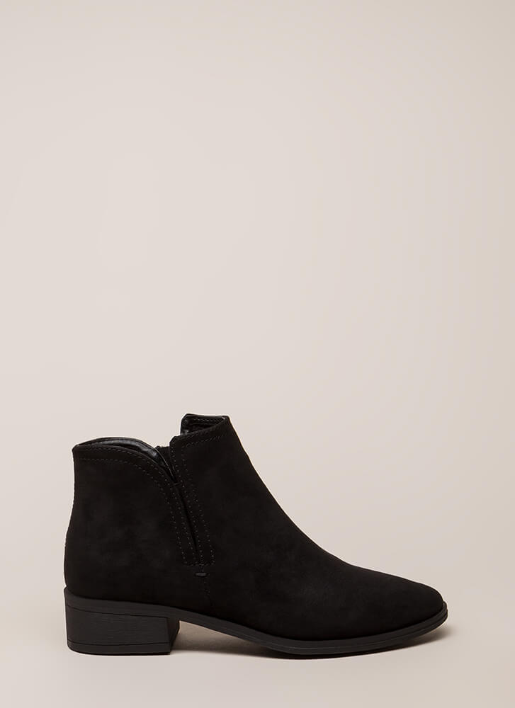 Play Time Notched Faux Suede Booties BLACK