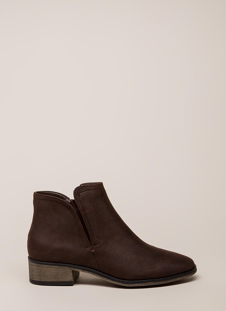Come Out To Play Notched Booties BROWN