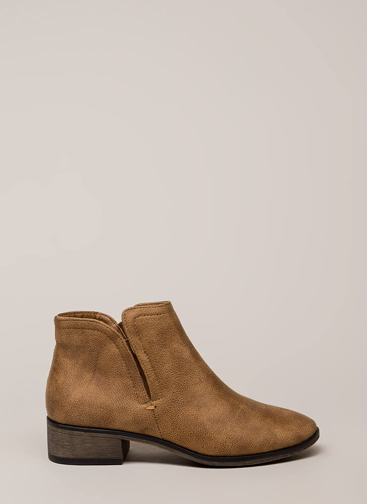 Come Out To Play Notched Booties TAN