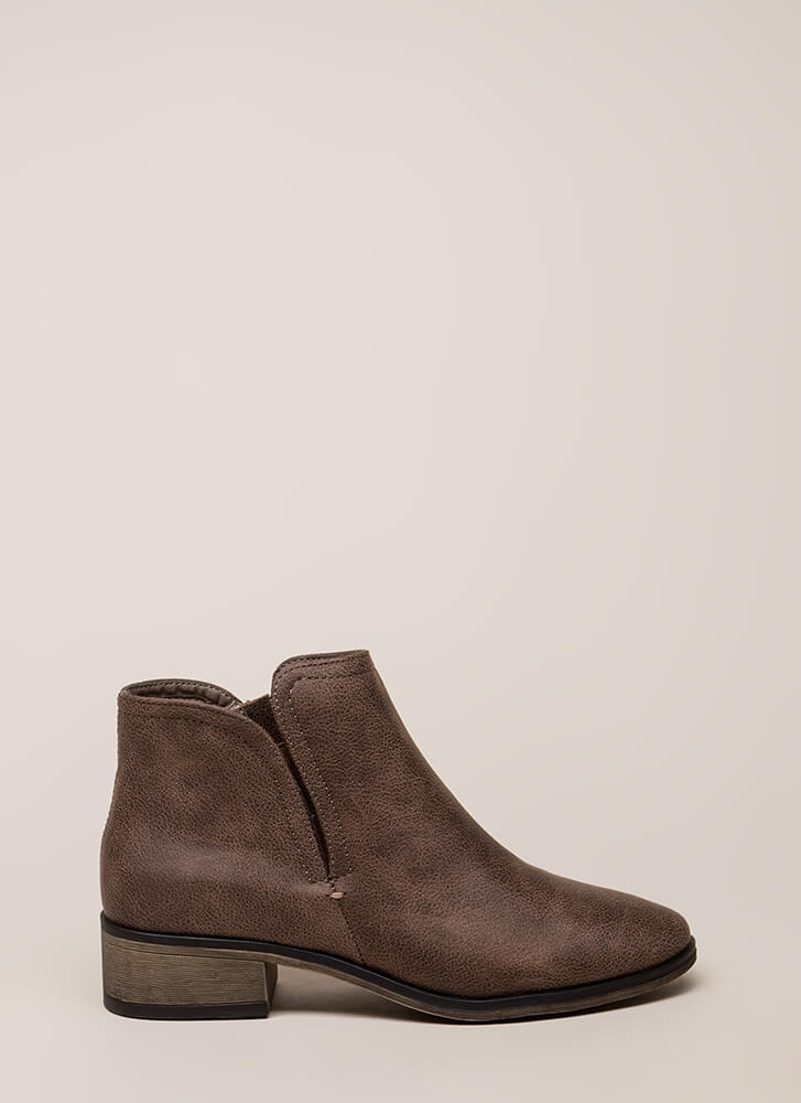 Come Out To Play Notched Booties TAUPE