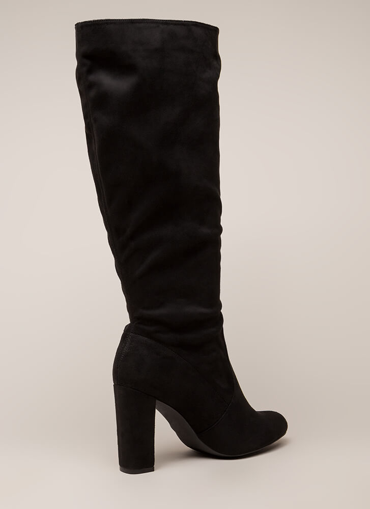 Fresh Legs Chunky Faux Suede Boots BLACK