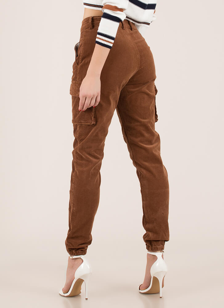 Cool Girl Corduroy Cargo Joggers BROWN