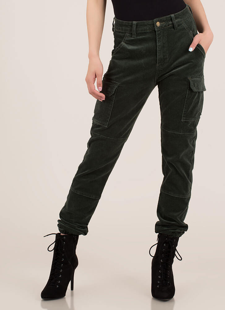 Cool Girl Corduroy Cargo Joggers OLIVE