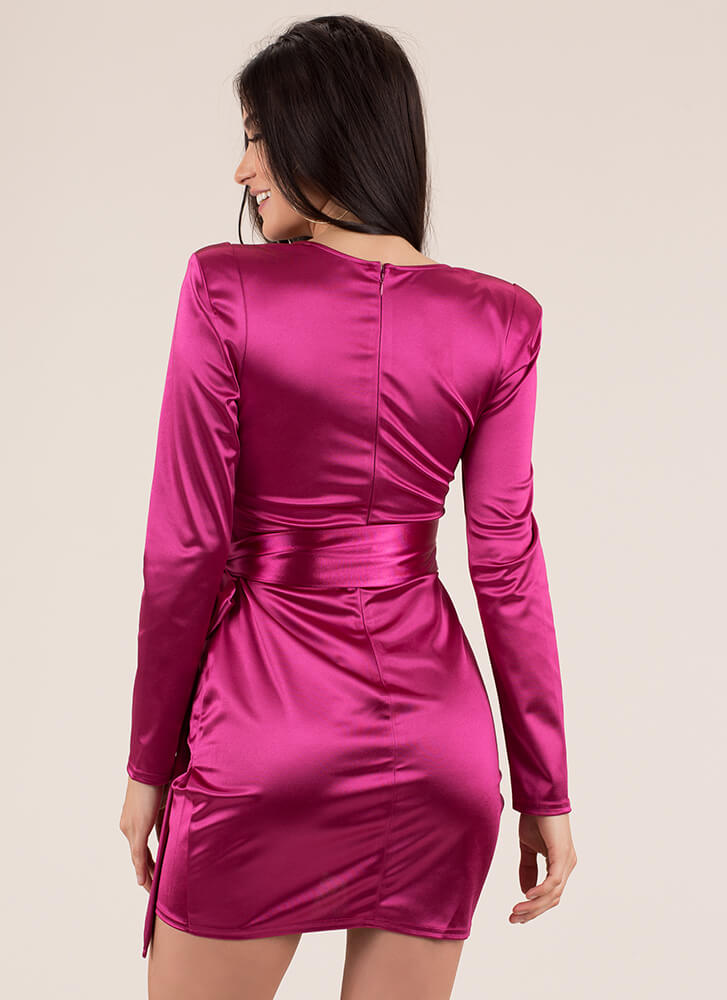 Tied With A Bow Cut-Out Satin Minidress MAGENTA