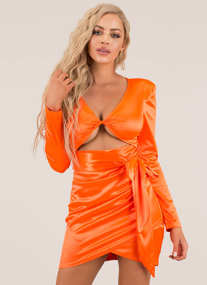 Tied With A Bow Cut-Out Satin Minidress ORANGE