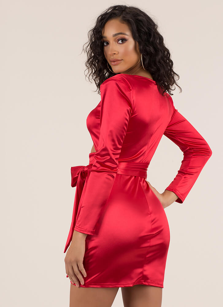 Tied With A Bow Cut-Out Satin Minidress RED