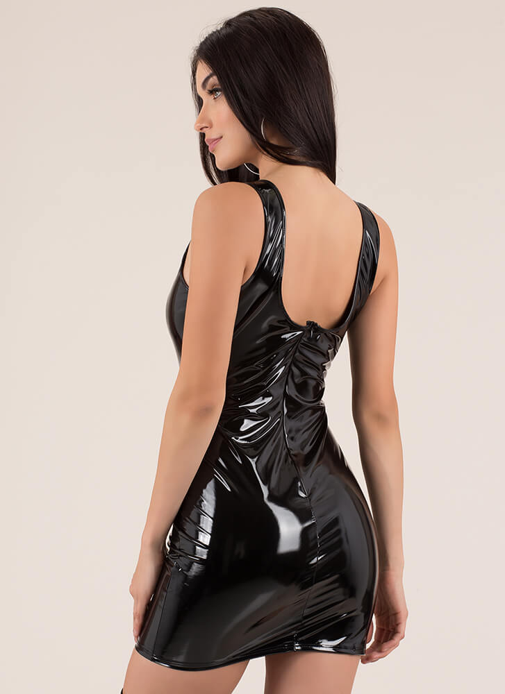Gloss For Words Faux Patent Minidress BLACK