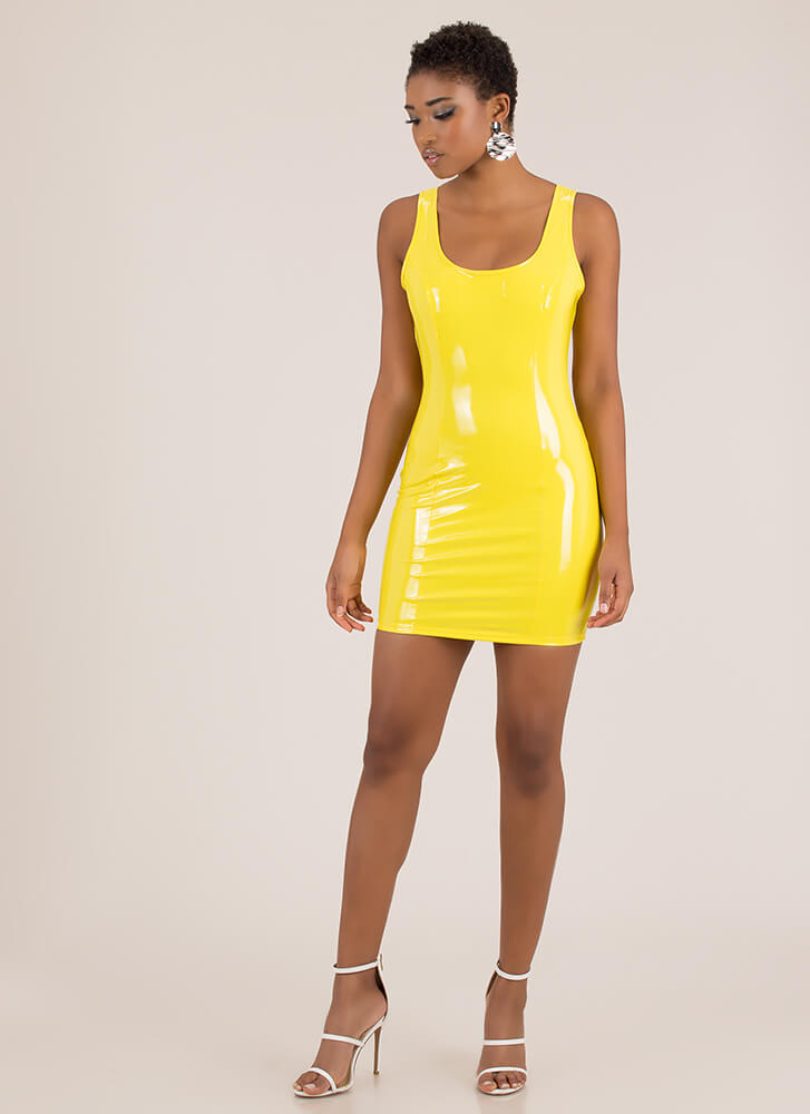 Gloss For Words Faux Patent Minidress YELLOW