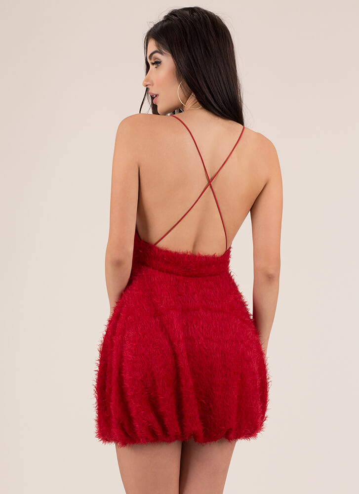 Fuzz Worthy Bubble Skirt Minidress RED (Final Sale)