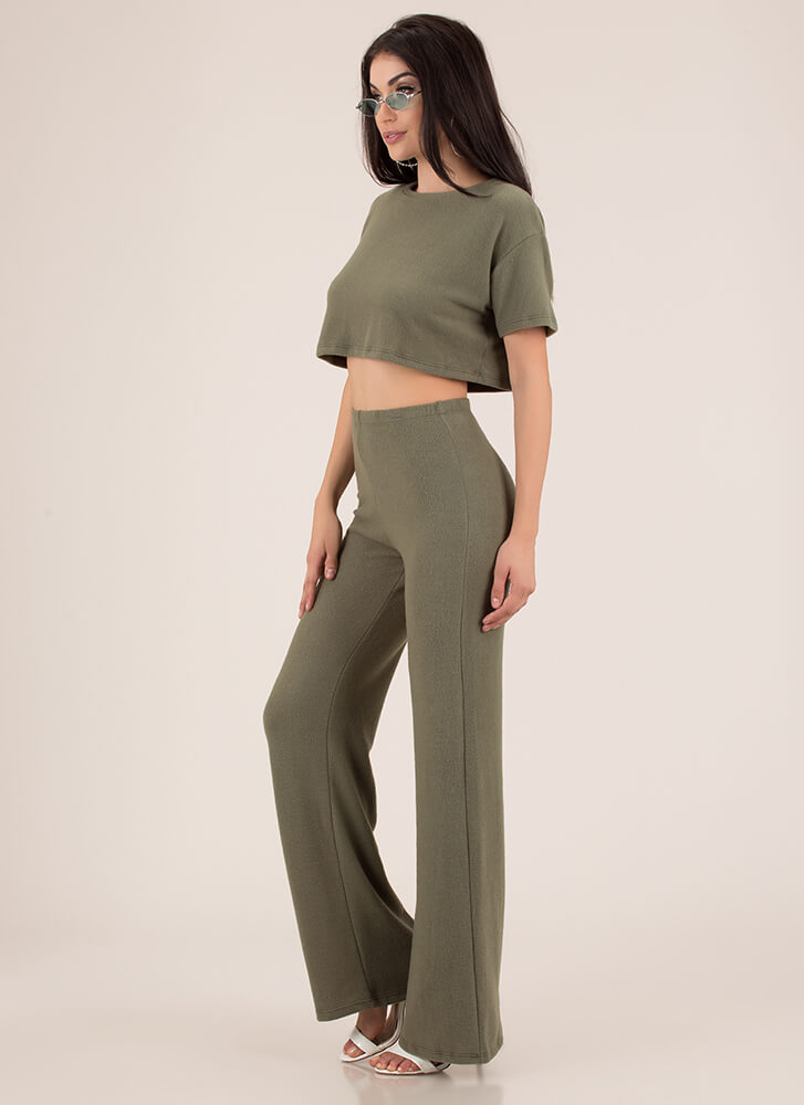Soft Spoken Fleecy Top And Pant Set OLIVE (You Saved $23)