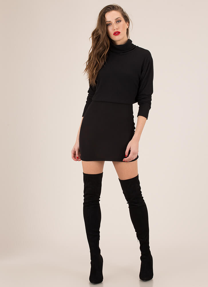 Soft Serve Fleecy Two-Piece Dress BLACK