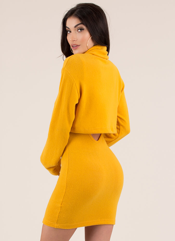 Soft Serve Fleecy Two-Piece Dress MUSTARD