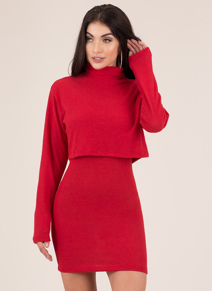 Soft Serve Fleecy Two-Piece Dress RED
