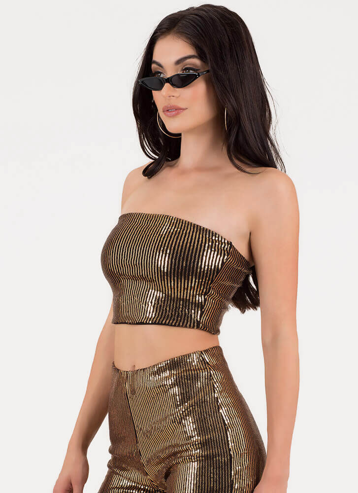 Seeking Sequins Cropped Tube Top GOLD
