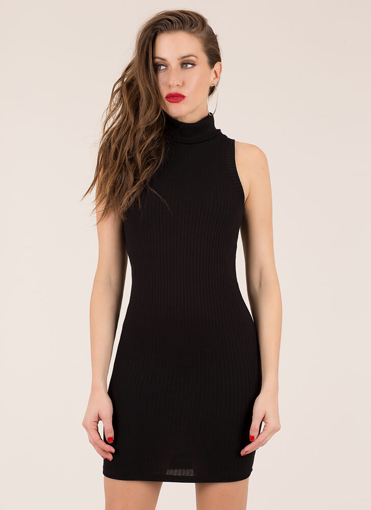 Simplicity Ribbed Turtleneck Dress BLACK