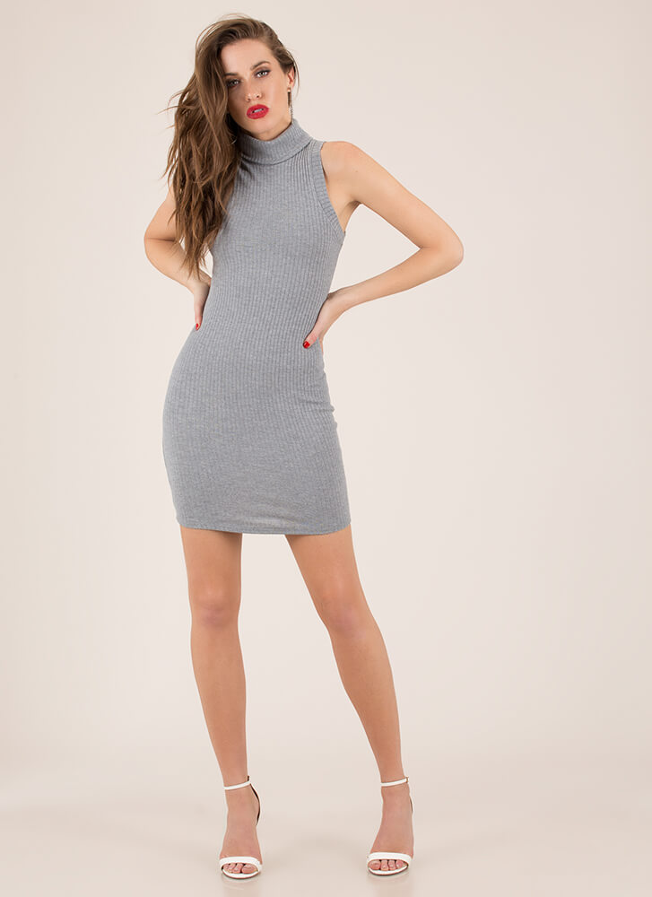 Simplicity Ribbed Turtleneck Dress HGREY