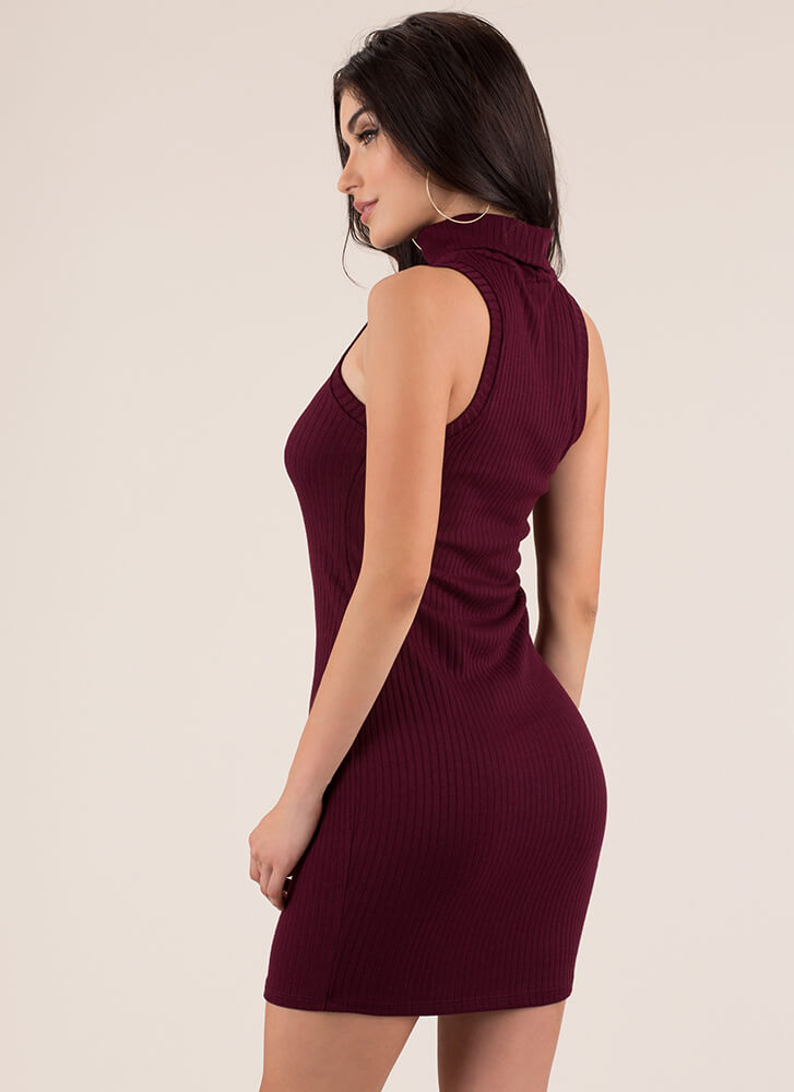 Simplicity Ribbed Turtleneck Dress MERLOT