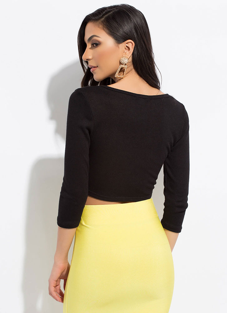 Short And Sweet Knotted Crop Top BLACK