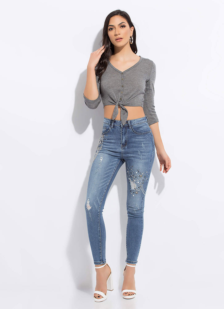 Short And Sweet Knotted Crop Top CHARCOAL