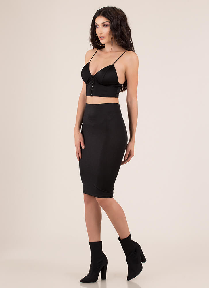 Hooked On You Top And Skirt Set BLACK
