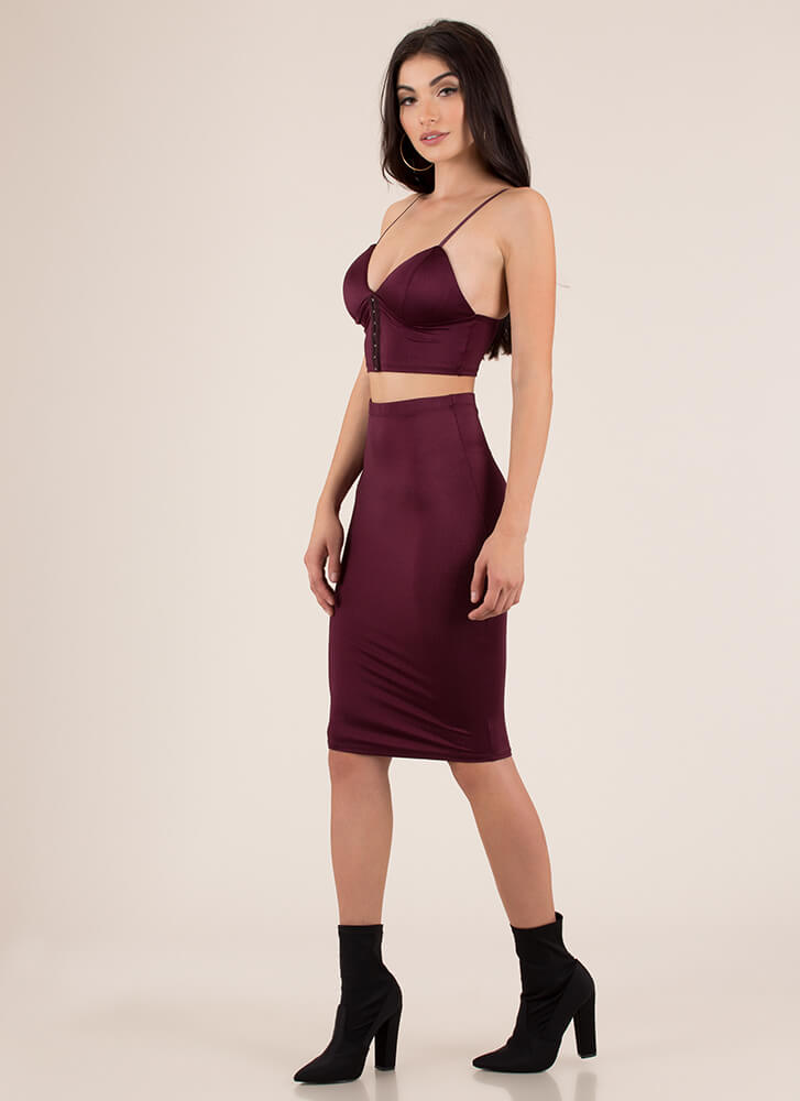 Hooked On You Top And Skirt Set PLUM