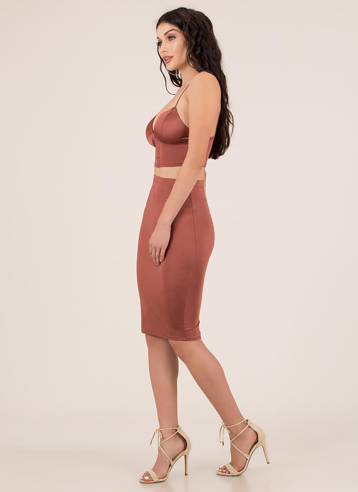 Hooked On You Top And Skirt Set RUST