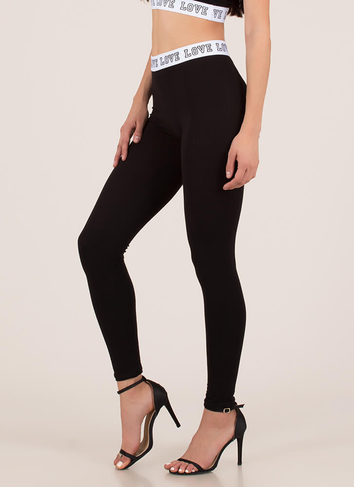 Where Is The Love Graphic Leggings BLACK (You Saved $6)