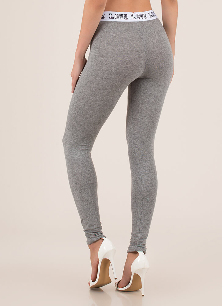 Where Is The Love Graphic Leggings HGREY (You Saved $6)